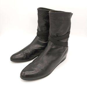 Stuart Weitzman Black Leather Ankle Booties Sz 7.5